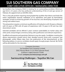 sui southern gas company ssgc requires ceo md in karachi sui southern gas company ssgc requires ceo md