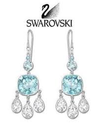 swarovski blue and clear crystal azore pierced earrings hook 5037468 authentic black crystal