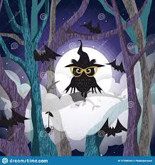 <b>Black Owl</b> On The <b>Tree</b> Background Of The Full Moon Stock Vector ...