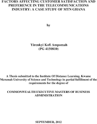 thesis on customer satisfaction in telecommunication