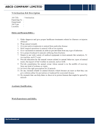 job description wordtemplates net job description veterinarian