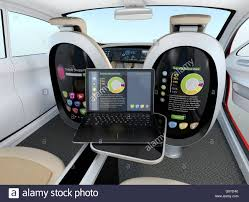autonomous car concept stock photos autonomous car concept stock autonomous car interior concept laptop sync to seat screen concept for new business work