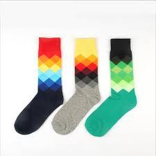 New Color Men <b>Happy</b> Cotton Argyle <b>Crew</b> Socks British <b>Style</b> ...