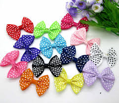 50pcs Mixed Corrugated Baby Satin <b>Ribbon</b> Polyester Bowknot Hair ...