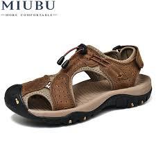 <b>Miubu</b> Brand Toe Protect Men'S Sandals Genuine Leather <b>Soft Sole</b> ...