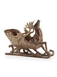 cabin decor lodge sled: brown winter lodge cabin decor quot reindeer sleigh statue figurine centerpiece zz main image