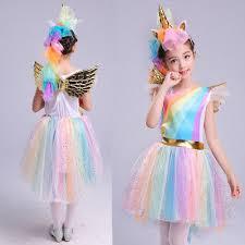 <b>Girls</b> Dress Rainbow Unicorn With Headband <b>Halloween Christmas</b> ...