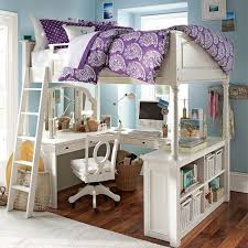 teenage girl loft bunk bed made of wood in white finished with u shaped desk and bunk bed dresser desk