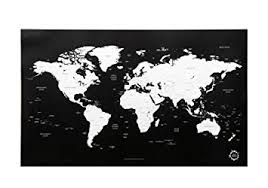 <b>Black</b> and White <b>World Map</b> Unique Design <b>Poster</b> Print Traveler ...