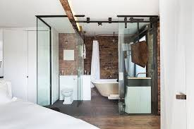 modern glass cubicle shaped bathroom with walk in shower and bedroom view bathroom walk shower