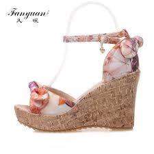 <b>Fanyuan</b> beautiful <b>girls</b> Wedge Sandals <b>fancy</b> Butterfly knot Print ...