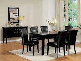 black and white dining table set:  picture of black dining room table with bench