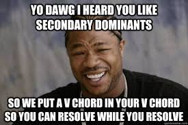 YO DAWG i heard you like secondary dominants So we put a v chord ... via Relatably.com