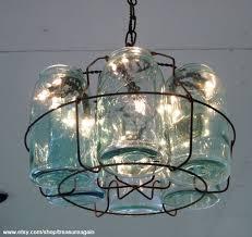 mason jar chandelier with string of lights inside blue mason jar string lights