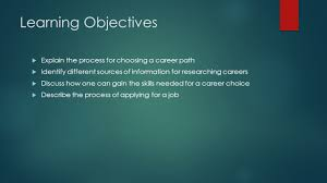 chapter careers and education learning objectives explain 2 learning objectives