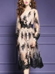 Black Button Up Floral Embroidered Midi Dress   <b>Vestidos</b>, Roupas ...