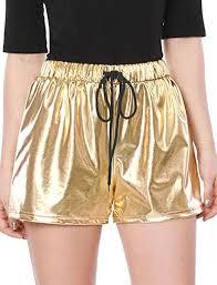 Allegra K Women Drawstring <b>Elastic High Waist Pockets</b> Metallic Hot ...