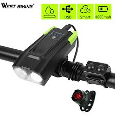 4000mAh <b>Smart Induction Bicycle</b> Front Light Set USB ...