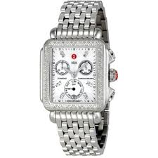 michele women s watches shop the best deals for 2017 michele women s mww06p000099 deco chronograph diamond silver stainless steel watch