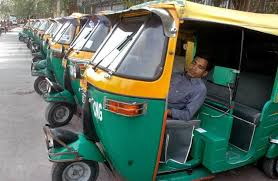Delhi autorickshaw drivers on a day long strike against Delhi Police