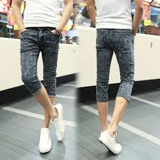 <b>Fashion 2019 Summer Casual</b> youth Skinny Capri jeans men Hip ...