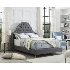 Aaron <b>Light</b> Grey <b>Linen Bed Frame</b> - Queen Size - Tufted - Nailhead ...