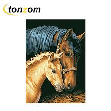 <b>RIHE Horse Mother And</b> Child Diy Painting By Numbers Animal ...