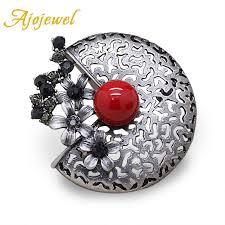 <b>Ajojewel</b> Trendy Black Rhinestone Flower Brooch Pins Cute Red ...