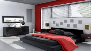 red wall paint black bed:  inspiring picture of red black and white room decoration ideas fascinating image of red black