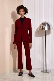 seven last minute pantsuits to buy now racked argent burgundy blazer