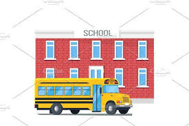 <b>Bus</b> Passing School Isolated <b>Cartoon</b> | Window Design | <b>Cartoon</b> ...