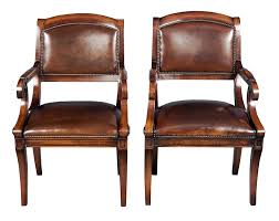 these gorgeous chairs are made of mahogany and brown leather with brass brads homeantique furniture english reproductionsoffice antique leather office chair
