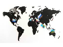 <b>Карта мира</b> из дерева Wall Decoration Black 90x54 cm