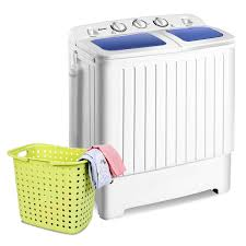 Costway <b>Portable Mini</b> Compact Twin Tub 17.6lb Washing Machine ...
