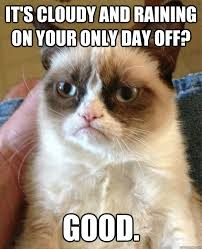 It's cloudy and raining on your only day off? Good. - Grump Cat ... via Relatably.com