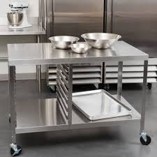 stainless kitchen work table: lakeside  stainless steel work table with sheet pan storage and lower shelf quot