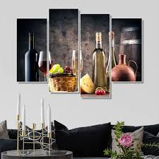 <b>Laeacco Canvas Calligraphy</b> Painting 4 Panel Wine Wall Art Posters ...