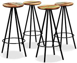 Furniture Supplies UK <b>Bar Stools</b> 4 pcs <b>Solid Reclaimed</b> Wood and ...