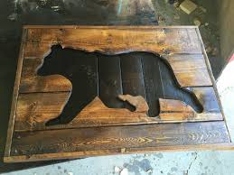 a happy compromise between folk art and taxidermy this unique pallet wood black bear silhouette arts crafts rustic charm