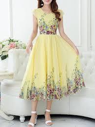 Beach <b>Elegant Boho</b> Printed A-<b>line</b> Chiffon Midi Dress - StyleWe.com