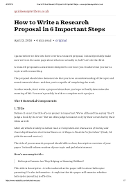 How to write a research proposal in   important steps     www quickessa              How to Write a Research Proposal in   Important Steps