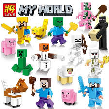 LE PIN <b>Minecrafted</b> Figures <b>My World Village</b> Building Blocks Set ...