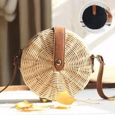 Women Round Beach Bag <b>Handmade Handwoven Rattan</b> Circle ...