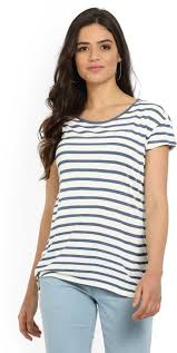 <b>LEVI'S Striped Women</b> Round Neck White, Blue T-Shirt - Buy WHITE ...