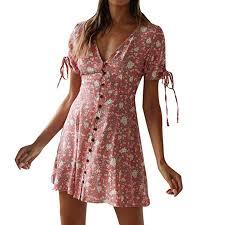 <b>Summer Dresses</b> for <b>Women</b>, <b>Floral</b> Print V Neck Short Sleeve Boho ...