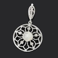 <b>Кулон лунный камень</b> (<b>адуляр</b>) (серебро 925 пр. родир. бел.) круг ...