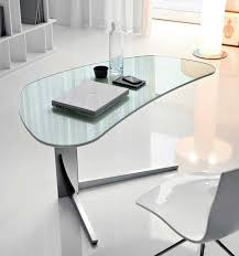 outstanding modern office desk design with oval glass table combined freestanding triangle foot also brilliant office work table