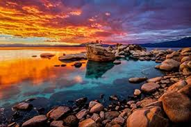 Stunning Lake Tahoe Rocky Shore Colorful Sunset ... - Amazon.com
