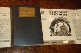 rare books from  the sun also rises stoppped charles scribner s sons new york 1926 charles scribner s sons ny 259 pages 1st edition 1st printing 1926 on both