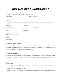 employee contract form samples resume templates employee contract form samples employment contract employee agreement form us best photos of employee
